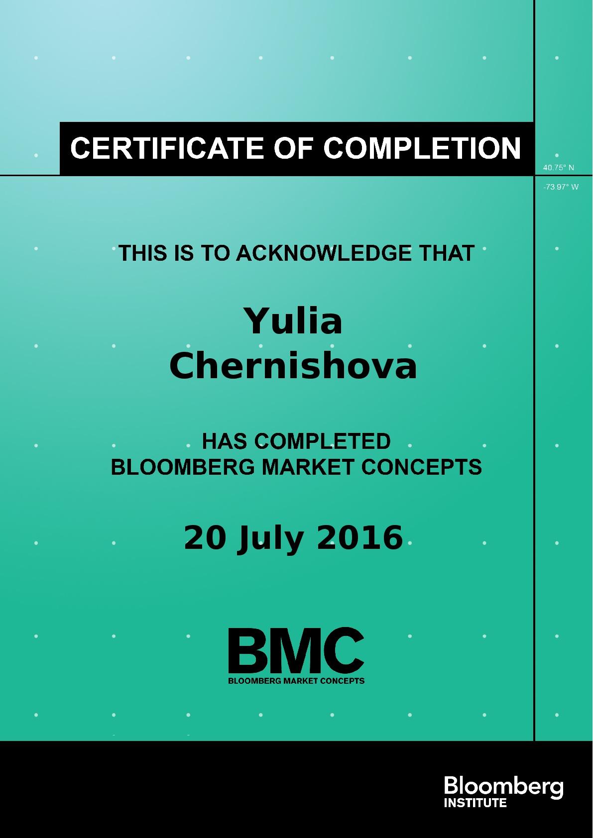 Bloomberg Certificate for Yulia Chernishova